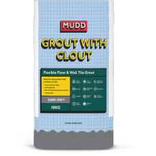 Mudd Grout With Clout dark grey water resistant flexible tile grout 10kg - 37122 - CG2WA