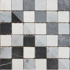 BCT10357 Mosaics Shades of Grey Buxton Marble Black and White Sheet 302mm x 302mm