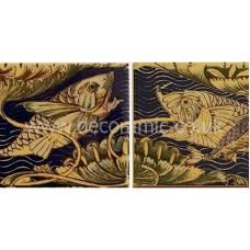 VA901022 V&A Fish Panel Set of 2 Wall 152mm x 76mm