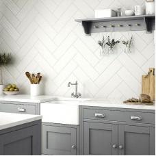 Cottonwood Linear Powder grey matt ceramic tile LA52857 148x498mm British Ceramic Tiles Laura Ashley