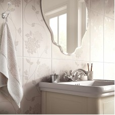 Isodore Floral Field white satin ceramic tile LA51898 248x498mm British Ceramic Tiles Laura Ashley