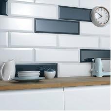 Metro Bevel white gloss ceramic tile VA04282 148x498mm British Ceramic Tiles V&A