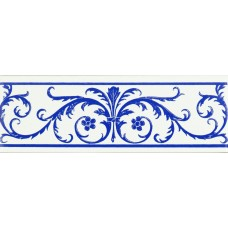 Acanthus Royal Blue On Brilliant White Gloss Decorated Ceramic - G9023A - 152x50x7 Original Style