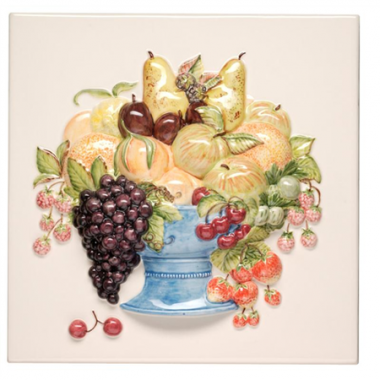 Fruit Bowl Plaque Relief Moulded Hand Painted on Clematis decorative Wall KHP5819BN gloss tile 300x300 mm La Belle Original Style