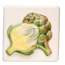 Artichoke Relief Moulded Hand Painted On Clematis decorative Wall KHP5700B gloss tile 100x100 mm La Belle Original Style