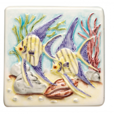 Angel Fish Hand Painted on Clematis decorative Wall KHP5870 gloss tile 100x100 mm La Belle Original Style