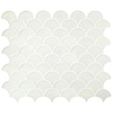 Iridescent Fan White Frosted GW-PRLSCMOSF glass mosaic tile 256x296x8mm Original Style
