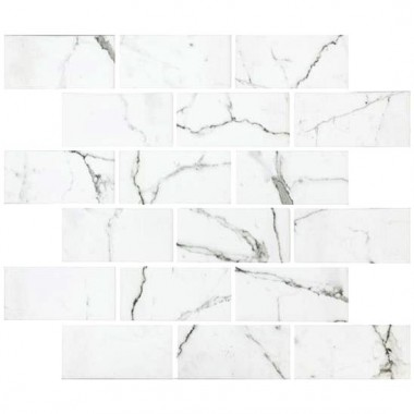 Torcello White Brickbond Recycled Glass GW-TORBBMOS glass mosaic tile 300x300x4mm Original Style