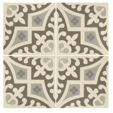 Romanesque Light Blue, Light Grey and Dark Grey on Dover White tile 8021V 151x151x9 mm Odyssey Original Style