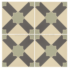 Alhambra Denim and Light Jade on White tile 8105V 151x151x9 mm Odyssey Original Style