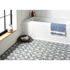 Odyssey Saltram Dark Blue & White on Grey 8733 Porcelain tile Decorated 298x298mm Original Style