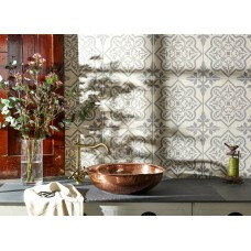 Odyssey Pentillie Light Grey on Chalk 8738 Porcelain tile Decorated 298x298mm Original Style