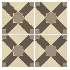 Alhambra Light Grey and Dark Grey on White tile 8102V 151x151x9 mm Odyssey Original Style