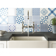 Chambray Blue Sea Blue, Sky Blue On Brilliant White Tile 8511A 152x152x10  Mm Odyssey Original