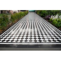 Chester with Simple border a chequered victorian floor tile design