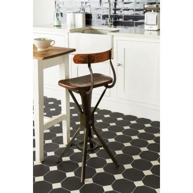 "Original Style 6331V black octagon 151 x 151   6 x 6"" plain tile"