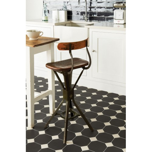 Original Style V Black Octagon X X Plain Tile - 6x6 black floor tile