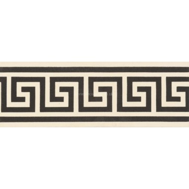 "Original Style 6666V black on white Greek Key Border 151 x 53 | 6 x 2"" decorative tile"
