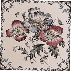 "Original Style 6011B Poppies, Scroll Border 152 x 152mm | 6 x 6"" decorative tile"