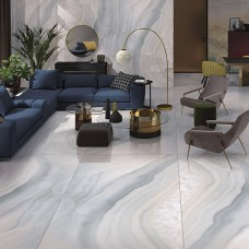 Onyx Bianco Marble Effect Porcelain Tile 240x120cm Polished thin porcelain tile by Porcel-Thin