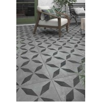 Welford Geometric Anthracite Matt Porcelain tile P11185 60x60x2cm Verona Al Fresco