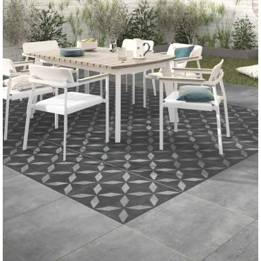 Welford Geometric Grey Matt Porcelain tile P11184 60x60x2cm Verona Al Fresco