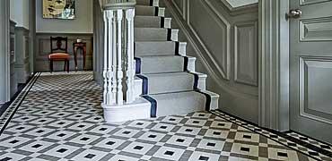 Victorian tiles in hallways