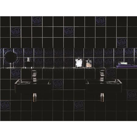 original style tiles infinity blue on jet black decorative wall tile