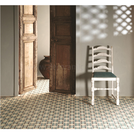 Original Style tiles - Ottoman Light Jade, Dark Jade and Dark Grey on White decorative wall and floor  tile 151 x 151 x 9 mm - 8093V Odyssey