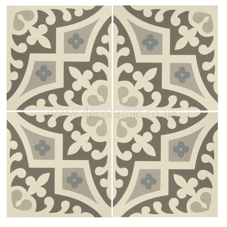 Original Style tiles - Romanesque Light Blue, Light Grey and Dark Grey on Dover White decorative wall and floor  tile 151 x 151 x 9 mm - 8021V Odyssey