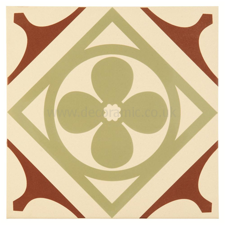 Original Style tiles - Quatrefoil Dark Red Dark Red, Pale Green decorative wall and floor  tile 300 x 300 x 9 mm - 8701 Odyssey