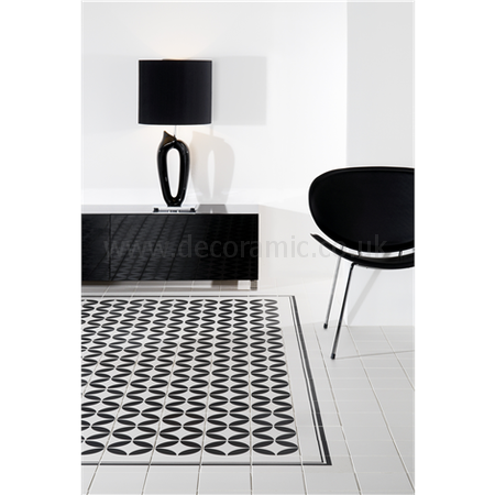 Original Style tiles - Bavaria Black on Dover White decorative wall and floor  tile 151 x 151 x 9 mm - 7927V Odyssey