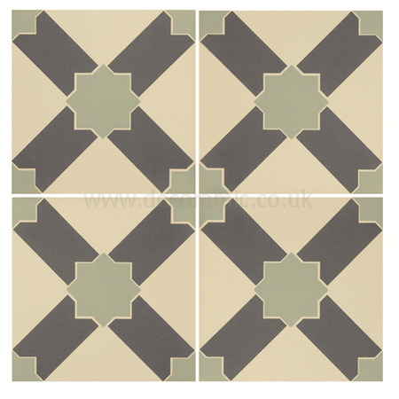Original Style tiles - Alhambra Denim and Light Jade on White decorative wall and floor  tile 151 x 151 x 9 mm - 8105V Odyssey