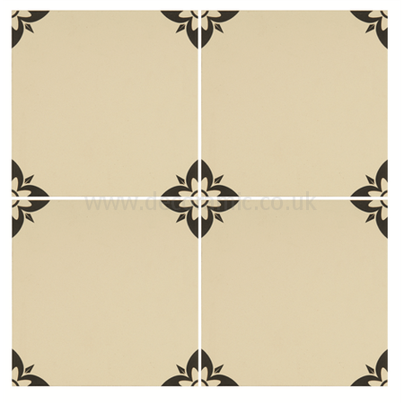 Original Style tiles - Empire Black on White decorative wall and floor  tile 151 x 151 x 9 mm - 8036V Odyssey