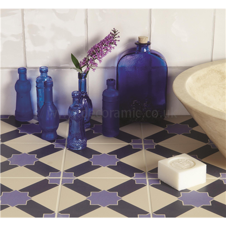Original Style tiles - Alhambra Indigo and Dark Blue on White decorative wall and floor  tile 151 x 151 x 9 mm - 8108V Odyssey