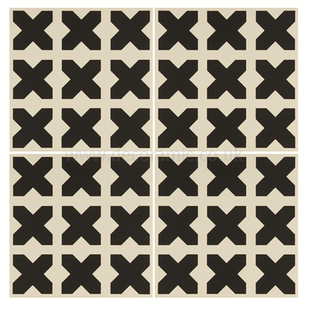 Original Style tiles - Babylonian Black on Dover White decorative wall and floor  tile 151 x 151 x 9 mm - 8121V Odyssey