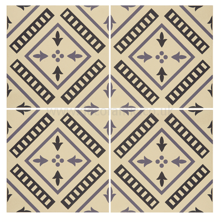 Original Style tiles - Pompeii Indigo and Dark Blue on White decorative wall and floor  tile 151 x 151 x 9 mm - 8115V Odyssey