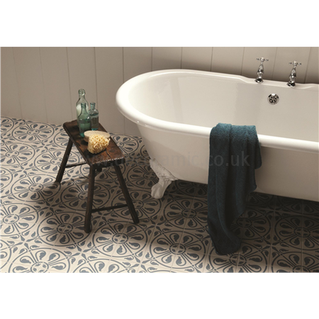 Original Style tiles - Phoenician Denim on Dover White decorative wall and floor  tile 151 x 151 x 9 mm - 8073V Odyssey