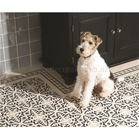 Original Style tiles - Romanesque Light Grey and Black on White decorative wall and floor  tile 151 x 151 x 9 mm - 8024V Odyssey