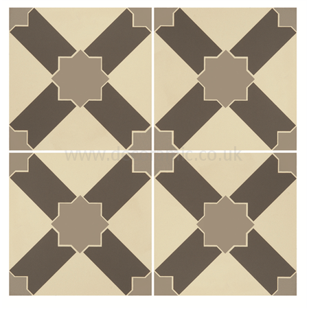Original Style tiles - Alhambra Light Grey and Dark Grey on White decorative wall and floor  tile 151 x 151 x 9 mm - 8102V Odyssey