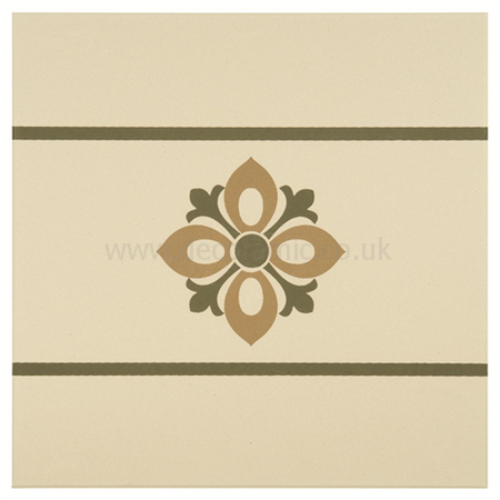 Original Style tiles - Bohemia Border Khaki and Old London on White decorative wall and floor  tile 151 x 151 x 9 mm - 8008V Odyssey