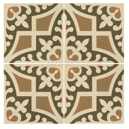 Original Style tiles - Romanesque Dublin, Khaki and Old London on White decorative wall and floor  tile 151 x 151 x 9 mm - 8009V Odyssey
