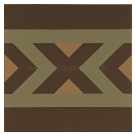 Original Style tiles - Peruvian Border Dublin and Buff on Brown decorative wall and floor  tile 151 x 151 x 9 mm - 8137V Odyssey