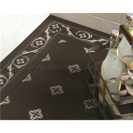 Original Style tiles - Saxon Border Light Blue and White on Black decorative wall and floor  tile 151 x 151 x 9 mm - 8040V Odyssey