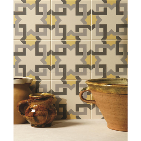 Original Style tiles - Ottoman Summer Yellow, Light Grey and Dark Grey on White decorative wall and floor  tile 151 x 151 x 9 mm - 8096V Odyssey