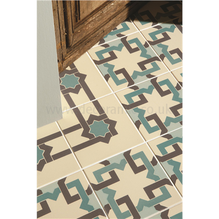 Original Style tiles - Iberian Border Dark Grey and Dark Jade on White decorative wall and floor  tile 151 x 151 x 9 mm - 8094V Odyssey