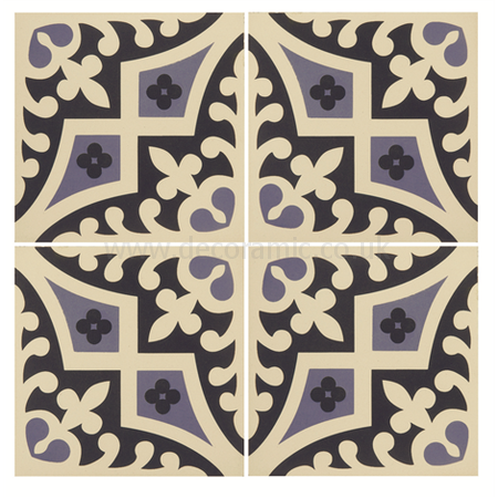 Original Style tiles - Romanesque Indigo and Dark Blue on White decorative wall and floor  tile 151 x 151 x 9 mm - 8018V Odyssey