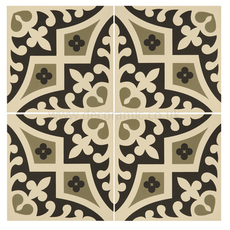 Original Style tiles - Romanesque Dublin and Black on White decorative wall and floor  tile 151 x 151 x 9 mm - 8015V Odyssey