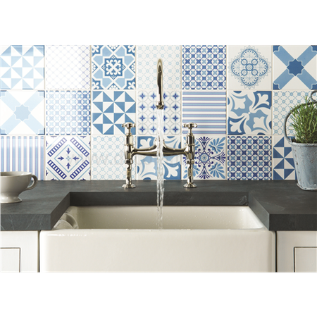 Original Style tiles - Marquee Blue Midnight Blue on Brilliant White decorative wall  tile 152 x 152 x 10 mm - 8500A Odyssey
